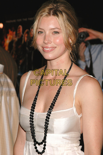 "JESSICA BIEL.The premiere of the new film, ""The Fantastic 4"" on Liberty Island in New York Harbor, New York, New York..July 6th, 2005 .Photo Credit: Patti Ouderkirk/AdMedia.half length black beaded necklace white silk satin top.www.capitalpictures.com.sales@capitalpictures.com.© Capital Pictures."