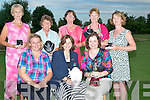 PRIZES: Ladies capt of Ardfert Golf Club who presented her prizes on Saturday evening at Ardfert Golf Club to winner and runner ups at her golf tourement Front l-r: Amanda Breen (2nd), Kathleen Finnegan (lady capt) and Karen Tess (winner). Back l-r: Margaret Murphy (sec winner)_, Joan Cantillon (3rd), Katie O'Connell (lady president), Mary Quillinan (4th) and Sheila McCarthy (front 9).