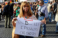 Roma 10 Ottobre 2009.Manifestazione nazionale  contro l'Omofobia.Rome, October 10, 2009.The national demonstration against homophobia..The banner reads: on.B......  she is taller than honest  (Berlusconi)