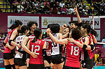 Players of Japan celebrate winning after the FIVB Volleyball World Grand Prix - Hong Kong 2017 match between Japan and Serbia on 22 July 2017, in Hong Kong, China. Photo by Yu Chun Christopher Wong / Power Sport Images