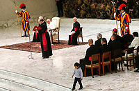A child walks on the floor as Pope Francis attends his weekly general audience in the Paul VI hall at the Vatican, January 22, 2020.<br /> UPDATE IMAGES PRESS/Riccardo De Luca<br /> STRICTLY ONLY FOR EDITORIAL USE A child walks on the floor as Pope Francis attends his weekly general audience in the Paul VI hall at the Vatican, January 22, 2020.<br />