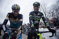 Pre-race fun for Toon Aerts (BEL/Telenet-Fidea) & Sven Nys (BEL/Crelan-AAdrinks). Sven will be Toon's boss in a couple of weeks as he retires and will become the new Telenet-Fidea Team Manager.<br /> <br /> Soudal Classic Leuven 2016