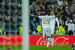 Real Madrid CF's Mariano Diaz and Real Madrid CF's Vinicius Jr celebrates after scoring a goal during La Liga match. Mar 01, 2020. (ALTERPHOTOS/Manu R.B.)