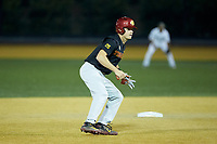 John Thomas (25) of the USC Trojans takes his lead off of second base against the Wake Forest Demon Deacons at David F. Couch Ballpark on February 24, 2017 in  Winston-Salem, North Carolina.  The Demon Deacons defeated the Trojans 15-5.  (Brian Westerholt/Four Seam Images)