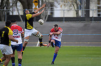 Leon Ellison clears under pressure during the preseason provincial rugby match between Horowhenua Kapiti and Wellington at Levin Domain in Levin, New Zealand on Monday, 4 May 2018. Photo: Dave Lintott / lintottphoto.co.nz