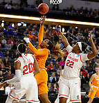 SIOUX FALLS, SD - MARCH 27, 2016 -- Bashaara Graves #12 of Tennessee shoots between Syracuse defenders Brittney Sykes #20 and Taylor Ford #22 during their NCAA DI Regional Championship game Sunday at the Denny Sanford Premier Center in Sioux Falls, S.D.  Syracuse won 89-67 to advance to the Final Four and will face Washington. (Photo by Dick Carlson/Inertia)