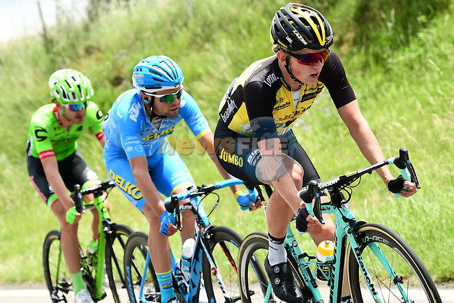 The breakaway group Koen Bouwman (NED) Team Lotto NL-Jumbo, Romain Combaud (FRA) Delko Marseille Provence KTM and Nathan Brown (USA) Cannondale-Drapac 3'20'' ahead during Stage 2 of the Criterium du Dauphine 2017, running 171km from Saint-Chamond to Arlanc, France. 5th June 2017. <br /> Picture: ASO/A.Broadway | Cyclefile<br /> <br /> <br /> All photos usage must carry mandatory copyright credit (&copy; Cyclefile | ASO/A.Broadway)