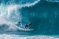 Mark Occhilupo (AUS) surfing Pipeline during the running of the Pipeline Masters circa Decemeber1989. Photo: Joliphotos