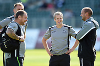 Dave Walder and other Newcastle Falcons coaches look on prior to the match. Aviva Premiership match, between Bath Rugby and Newcastle Falcons on September 23, 2017 at the Recreation Ground in Bath, England. Photo by: Patrick Khachfe / Onside Images