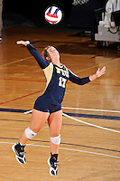 11 September 2011:  FIU defensive specialist/libero Carolyn Fouts (17) serves in the first set as the FIU Golden Panthers defeated the Florida A&M University Rattlers, 3-0 (25-10, 25-23, 26-24), at U.S Century Bank Arena in Miami, Florida.