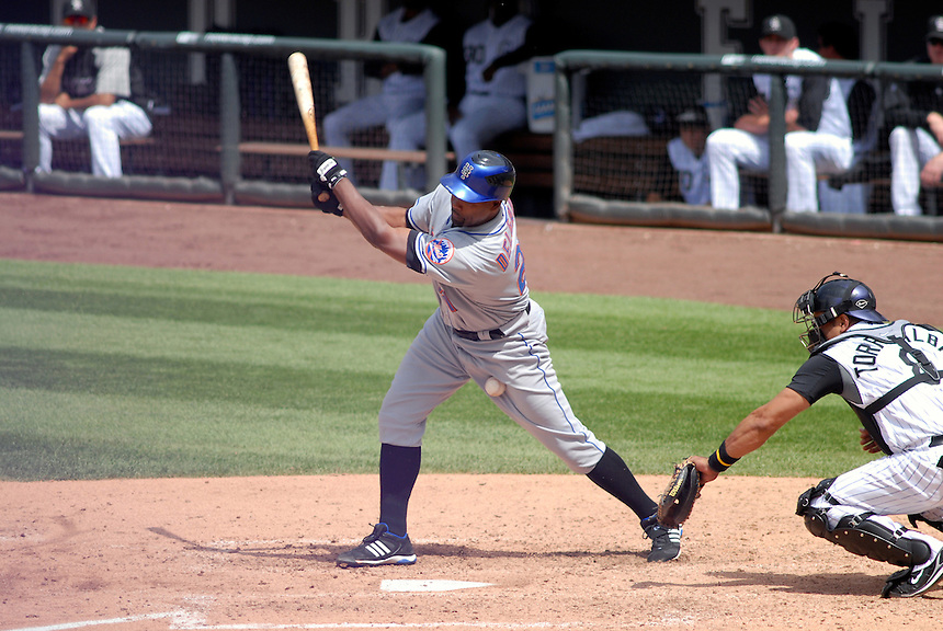 08 June 2008: Mets 1st baseman Carlos Delgado fouls a pitch into his leg during a regular season game between the Milwaukee Brewers and the Colorado Rockies at Coors Field in Denver, Colorado.*****For editorial use only*****