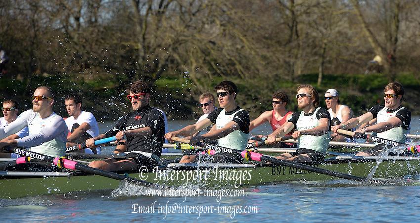 London, United kingdom.  Pre 2014 Varsity Boat Race Fixture, Cambridge University BC vs Molesey Boat Club, over the Championship Course; Putney to Mortlake, River Thames, Greater London on Sunday  16/03/2014 [Mandatory Credit: Peter Spurrier/Intersport Images]<br /> <br />  <br /> <br /> CAMBRIDGE; Bow: Michael THORP, 2: Luke JUCKETT,  3: Ivo DAWKINS, 4: Steve DUDEK, 5: Helge GRUETJEN, 6: Matthew JACKSON, 7: Joshua HOOPER, Stroke: Henry HOFFSTOT, Cox: Ian MIDDLETON<br /> <br />  MOLESEY BC; Bow: Sam SCRIMEGOUR, 2: Pete ROBINSON, 3: Matt TARRANT, 4: Fred GILL , 5: Mo SBIHI,  6: Phil CONGDON, 7: George NASH, Stroke: James FOAD, Cox: Henry FIELDMAN