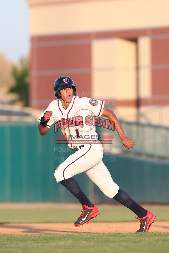 Carlos Correa #1 of the Lancaster JetHawks during a game against the High Desert Mavericks at The Hanger on April 19, 2014 in Lancaster, California. Lancaster defeated High Desert, 7-1. (Larry Goren/Four Seam Images)