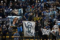 BOGOTA - COLOMBIA -25 - 11 - 2017: Hinchas de Millonarios, animan a su equipo, durante partido de ida entre La Equidad y Millonarios, de los cuartos de final la Liga Aguila II - 2017, jugado en el estadio Metropolitano de Techo de la ciudad de Bogota. / Fans of Millonarios, cheer for their team during a match for the first leg between La Equidad and Millonarios, to the quarter of finals for the Liga Aguila II - 2017 at the Metropolitano de Techo Stadium in Bogota city, Photo: VizzorImage  / Luis Ramirez / Staff.