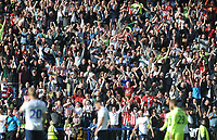 Sheffield United fans celebrate their teams win<br /> <br /> Photographer Kevin Barnes/CameraSport<br /> <br /> The EFL Sky Bet Championship - Preston North End v Sheffield United - Saturday 6th April 2019 - Deepdale Stadium - Preston<br /> <br /> World Copyright © 2019 CameraSport. All rights reserved. 43 Linden Ave. Countesthorpe. Leicester. England. LE8 5PG - Tel: +44 (0) 116 277 4147 - admin@camerasport.com - www.camerasport.com