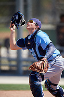Tampa Bay Rays catcher Mac Seibert (85) warms up before a Minor League Spring Training game against the Minnesota Twins on March 17, 2018 at CenturyLink Sports Complex in Fort Myers, Florida.  (Mike Janes/Four Seam Images)