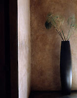 A shapely black vase stands against a  polished adobe wall