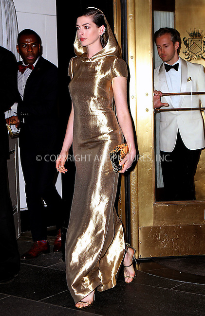 WWW.ACEPIXS.COM<br /> <br /> May 4 2015, New York City<br /> <br /> Anne Hathaway on the night of the Met Gala on May 4 2015 in New York City<br /> <br /> By Line: Nancy Rivera/ACE Pictures<br /> <br /> <br /> ACE Pictures, Inc.<br /> tel: 646 769 0430<br /> Email: info@acepixs.com<br /> www.acepixs.com