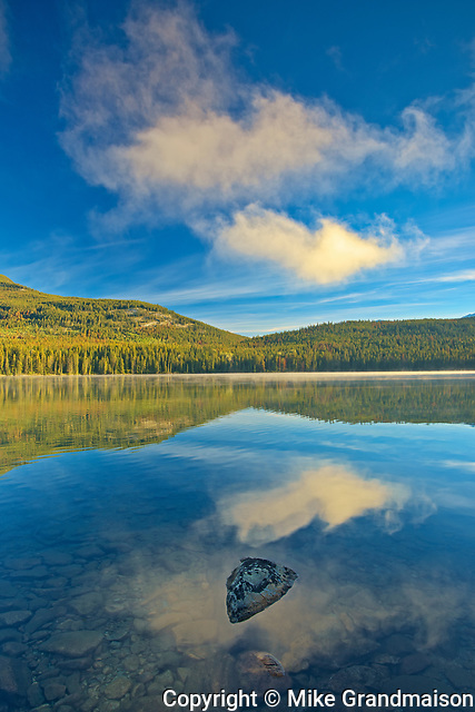 Clouds reflected in Pyramid Lake<br />Jasper National Park<br />Alberta<br />Canada