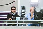 Stockholm 2015-07-16 Fotboll Kval Uefa Europa League  AIK - FC Shirak :  <br /> Viasat Sports expert Bojan Djordjic p&aring; pressl&auml;ktaren bredvid kommentator Niklas Holmgren under matchen mellan AIK och FC Shirak <br /> (Foto: Kenta J&ouml;nsson) Nyckelord:  AIK Gnaget Tele2 Arena UEFA Europa League Kval Kvalmatch FC Shirak Armenien Armenia portr&auml;tt portrait TV k&auml;ndis TV-k&auml;ndis