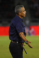 BARRANQUIILLA -COLOMBIA-15-08-2015. Alexis Mendoza técnico del Atlético Junior gesticula durante partido contra Aguilas Doradas por la fecha 6 de la Liga Águila II 2015 jugado en el estadio Metropolitano Roberto Meléndez de la ciudad de Barranquilla./ Alexis Mendoza coach of Atletico Junior gestures during match against La Equidad FC for the 6th  date of the Aguila League II 2015 played at Metropolitano Roberto Melendez stadium in Barranquilla city.  Photo: VizzorImage/ Alfonso Cervantes /