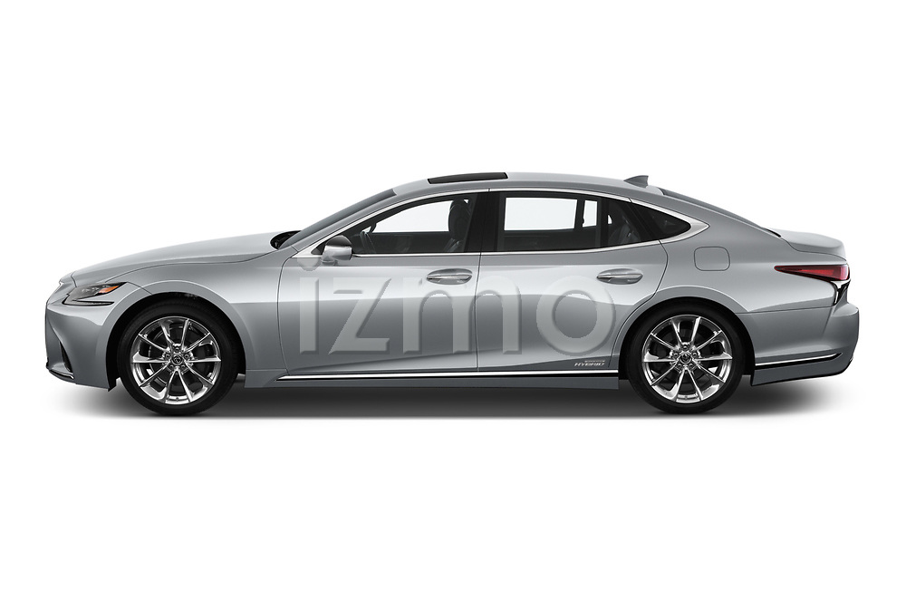 Car driver side profile view of a 2019 Lexus LS 500h 4 Door Sedan