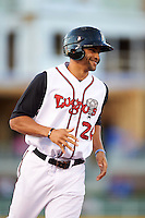 Lansing Lugnuts pinch runner Josh Almonte (26) runs the bases on a home run hit by Tim Locastro (not shown) during a game against the Peoria Chiefs on June 6, 2015 at Cooley Law School Stadium in Lansing, Michigan.  Lansing defeated Peoria 6-2.  (Mike Janes/Four Seam Images)