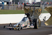 Sept. 1, 2013; Clermont, IN, USA: NHRA top fuel dragster driver Brittany Force during qualifying for the US Nationals at Lucas Oil Raceway. Mandatory Credit: Mark J. Rebilas-