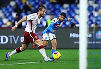 29th February 2020; Stadio San Paolo, Naples, Campania, Italy; Serie A Football, Napoli versus Torino; Lorenzo Insigne of Napoli misses a good goal scoring opportunity