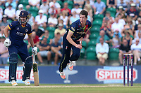 Adam Milne in bowling action for Kent during Kent Spitfires vs Essex Eagles, NatWest T20 Blast Cricket at The County Ground on 9th July 2017