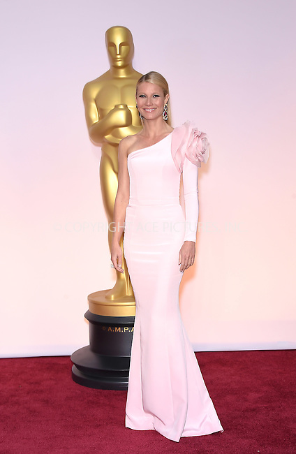 WWW.ACEPIXS.COM<br /> <br /> February 22 2015, Los Angeles Ca.<br /> <br /> Actress Gwyneth Paltrow arriving at the 87 th Annual Academy Awards at the Hollywood and Highland center on February 22 2015 in Hollywood CA.<br /> <br /> <br /> Please byline: Z15/ACE Pictures<br /> <br /> ACE Pictures, Inc.<br /> www.acepixs.com<br /> Email: info@acepixs.com<br /> Tel: 646 769 0430
