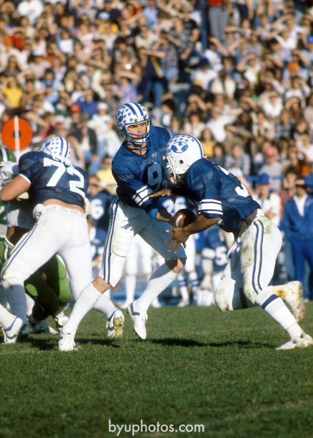 NOV 8 1980<br /> <br /> 9 Jim McMahon. 72 Nick Eyre<br /> <br /> Photography by: Mark Philbrick/BYU<br /> <br /> Copyright BYU PHOTO 2008<br /> All Rights Reserved<br /> 801-422-7322<br /> photo@byu.edu