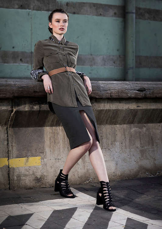 Sunday Mail, Fashion with Cimon Vozzo , Military fashion, at Port Adelaide , Model Logan from Azalea Models. Photo: Nick Clayton