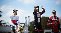 victory joy for John Degenkolb (DEU/Giant-Alpecin), while Zdenek Stybar (CZE/Etixx-QuickStep) finished 2nd and Greg Van Avermaet (BEL/BMC) 3rd<br /> <br /> 113th Paris-Roubaix 2015