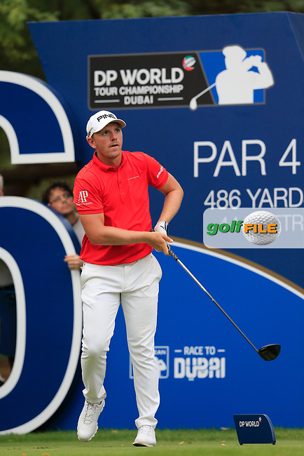 Matt Wallace (ENG) on the 16th tee during the 3rd round of the DP World Tour Championship, Jumeirah Golf Estates, Dubai, United Arab Emirates. 17/11/2018<br /> Picture: Golffile | Fran Caffrey<br /> <br /> <br /> All photo usage must carry mandatory copyright credit (&copy; Golffile | Fran Caffrey)