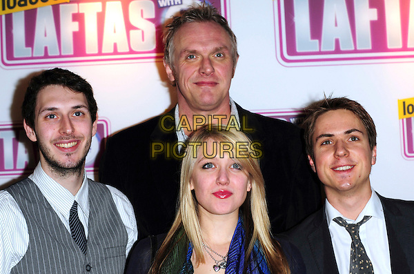 GREG DAVIS, JAMES BUCKLEY, EMILY HEAD & JOE THOMAS  from 'The Inbetweners'.Attending the Loaded LAFTA's Comedy Awards at the Cuckoo Club, London, England, January 27th 2010..LAFTAs arrivals cast portrait headshot grey gray waistcoat pinstripe black white tie blue scarf .CAP/CJ.©Chris Joseph/Capital Pictures.