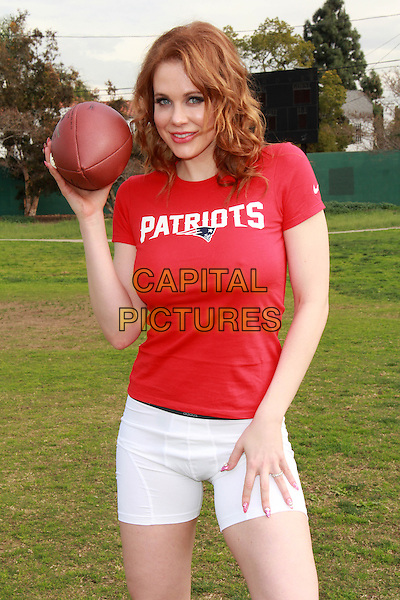 LOS ANGELES, CA - JANUARY 30: Maitland Ward says &quot;Inflate Your Balls&quot; for Superbowl XLIX in Los Angeles, CA on January 30, 2015. <br /> CAP/MPI/DC/DE<br /> &copy;DE/DC/MPI/Capital Pictures