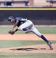 Brandol Perez #24 of the Seattle Mariners plays in an extended spring training game against the Kansas City Royals at the Mariners complex on April 30, 2011  in Peoria, Arizona. .Photo by:  Bill Mitchell/Four Seam Images.