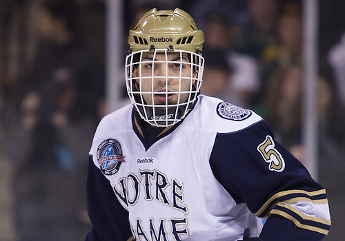 January 18, 2013:  Notre Dame defenseman Robbie Russo (5) during NCAA Hockey game action between the Notre Dame Fighting Irish and the Alaska Nanooks at Compton Family Ice Arena in South Bend, Indiana.  Alaska defeated Notre Dame 5-4.