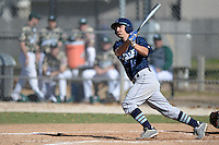 Upper Iowa University Peacocks infielder Cody Heiman (16) during a game against Slippery Rock University at Frank Tack Field on March 14, 2014 in Clearwater, Florida.  Slippery Rock defeated Upper Iowa 14-9.  (Mike Janes/Four Seam Images)