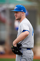 Central Connecticut State Blue Devils pitcher Patrick Mitchell (34) during warmups before a game against the North Dakota State Bison on February 23, 2018 at North Charlotte Regional Park in Port Charlotte, Florida.  North Dakota State defeated Connecticut State 2-0.  (Mike Janes/Four Seam Images)