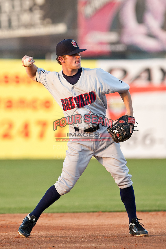 """Second Baseman Ryan """"Scooter"""" Gennett #11 of the Brevard County Manatees during the game against the Daytona Beach Cubs at Jackie Robinson Ballpark on April 9, 2011 in Daytona Beach, Florida. Photo by Scott Jontes / Four Seam Images"""