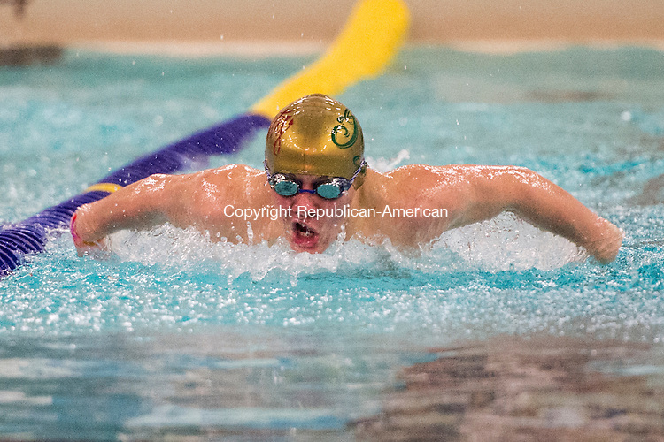 WATERBURY, CT - 22 December 2015-122215EC11--   Oxford's Jack Moran wins the 100 Butterfly event, in 1:04.92, against Sacred Heart Tuesday night. Erin Covey Republican-American.