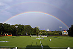 05 September 2014: A double rainbow hangs over Spry Stadium as the game is delayed by weather. The Wake Forest University Demon Deacons hosted the University of Connecticut Huskies at W. Dennie Spry Soccer Stadium in Winston-Salem, North Carolina in a 2014 NCAA Division I Men's Soccer match. Wake Forest won the game 2-1 in sudden death overtime.