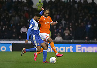 Blackpool's Nathan Delfouneso battles with Bristol Rovers' Mark Little<br /> <br /> Photographer Ian Cook/CameraSport<br /> <br /> The EFL Sky Bet League One - Bristol Rovers v Blackpool - Saturday 15th February 2020 - Memorial Stadium - Bristol<br /> <br /> World Copyright © 2020 CameraSport. All rights reserved. 43 Linden Ave. Countesthorpe. Leicester. England. LE8 5PG - Tel: +44 (0) 116 277 4147 - admin@camerasport.com - www.camerasport.com