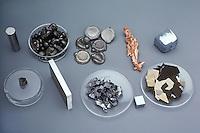 COMMON TRANSITION METALS<br /> Metal Elements<br /> Top row, left to right: iron, cobalt, nickel, copper, zinc. Bottom row, left to right: scandium, titanium, vanadium, chromium, manganese