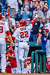 21 May 2018: Washington Nationals outfielder Juan Soto, making his first Major League start, returns to the dugout after getting his first career hit: a 3-run homer on the first pitch he faced by the San Diego Padres pitching at Nationals Park in Washington, DC. The Nationals defeated the Padres 10-2, taking the first game of their 3-game series. Mandatory Credit: Ed Wolfstein Photo *** RAW (NEF) Image File Available ***