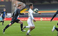 20191211 – OOSTENDE , BELGIUM : Sergio Arribas of Real Madrid pictured with Xander Blomme of Club Brugge during a soccer game between Club Brugge KV and Real Madrid on the sixth and last matchday in group A of the UEFA Youth League - Champions League season 2019-2020 , thuesday 11 th December 2019 at the Versluys Arena in Oostende , Belgium . PHOTO SPORTPIX.BE | DAVID CATRY