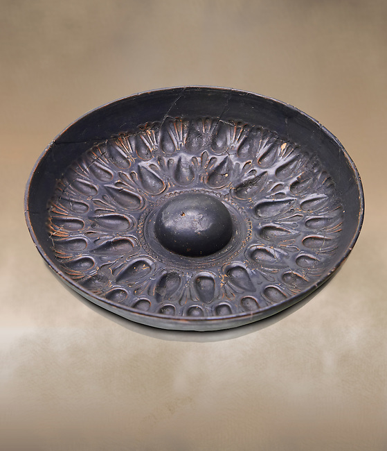 250 - 150 B.C Etruscan phiale or patera, or wine drinking bowl, produced in Calena,   National Archaeological Museum Florence, Italy
