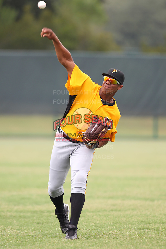 GCL Pirates outfielder Gavi Nivar #55 warms up before a game against the GCL Braves at Disney Wide World of Sports on June 25, 2011 in Kissimmee, Florida.  The Pirates defeated the Braves 5-4 in ten innings.  (Mike Janes/Four Seam Images)